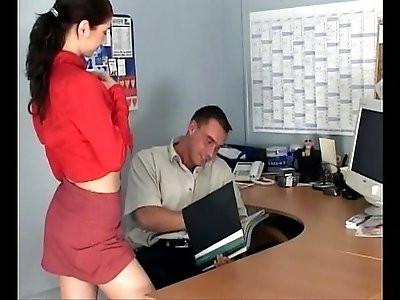 Petite secretary fucking in knee high stockings