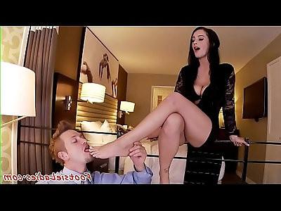 Beautiful footworshiped babe sucks hard cock