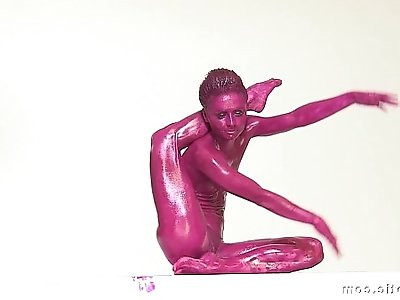 Contortionist Tanya Twists Her Body In Purple Paint