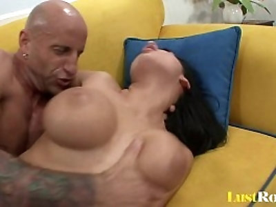Baldy fucking and receiving a footjob from Alison Star