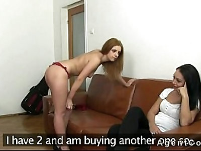 Fake agent fucks two hot amateurs on couch