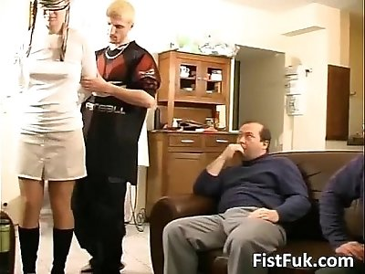 Cute girl gets mouth ass and pussy