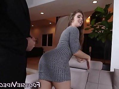 Fucked babe gives footjob
