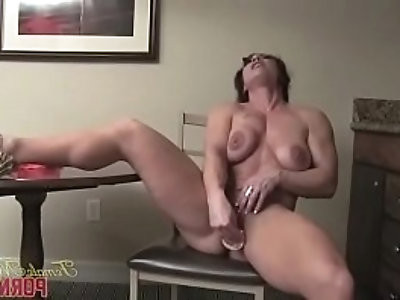 Nude Female Bodybuilder BrandiMae Masturbates and Says Its So Tight