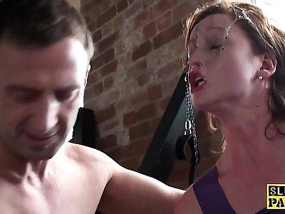 British mistress dominated and made to suck