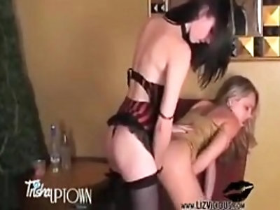 Hottie Miss Liz Vicious Fucks Trisha Uptown Hard with her Strap on!!
