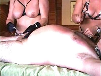 Fem Dom Ava tortures fat wimp Willy as big tit slut MILF sucks his prick