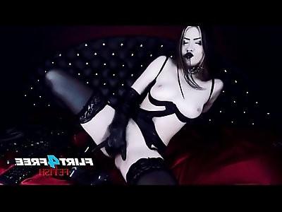 Sexy Girl Fucks Herself in Latex