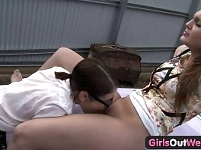 Abducted lesbian babe gets her pussy licked on the car