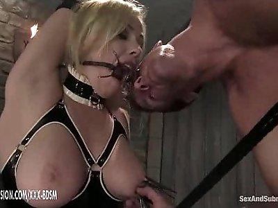 The man dominates on bondage lesbian babe in latex