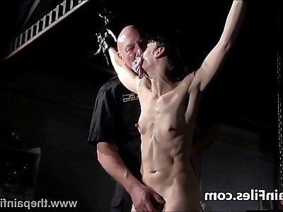 Breaking Elise Graves in hard dungeon tit tortures and suspension bondage of whi