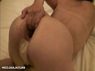 Tight asshole prolapsing hard after fist and bottle