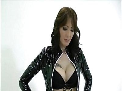 Goddess Zoey giving handjob to slave
