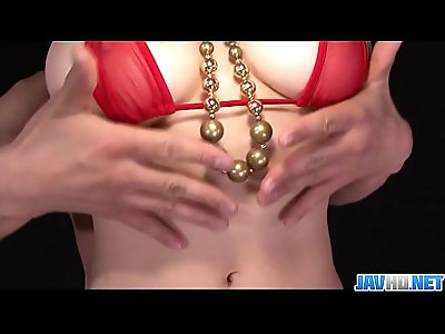 Busty babe in tight red bikini stripping off and toyed More