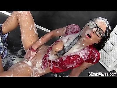 Bukkake wam slut gets her cunt rub