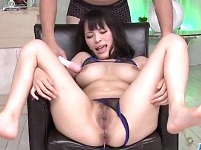 Big tits Kyouko Maki enjoys toy porn along her man