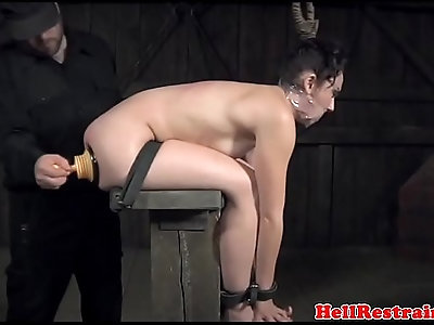 Bound sub whipped while gagged