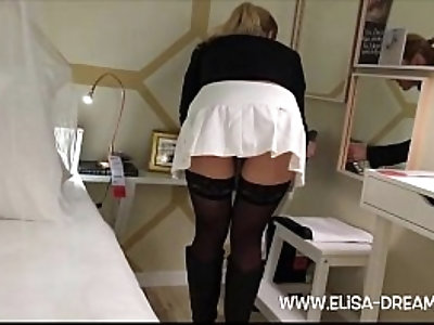 Upskirt and no panties in a famous shop