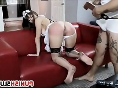 Domesticated Whore Dressed In Maid Uniform Disciplined