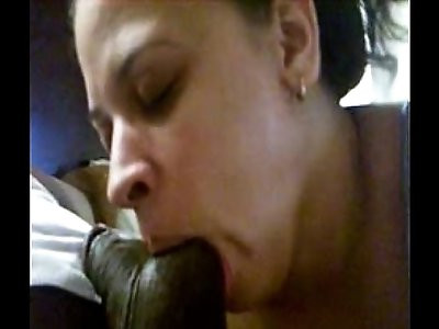Busty white wife sucks thick huge cock