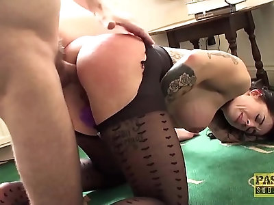 Roughly assfucked MILF submits to dom and swallows his cum