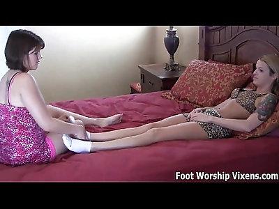 Leyla worshiping her tired roommates feet