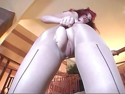 Redhead sucking and pantyhose masturbation