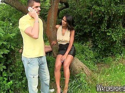 Ebony whore face piss